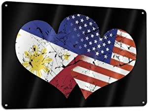 DNYNQZOUAG USA American Flag and Filipino Philippines Flag Aluminum Sign, Home Decor,Wall Art Sign 11.8x7.9 Inches