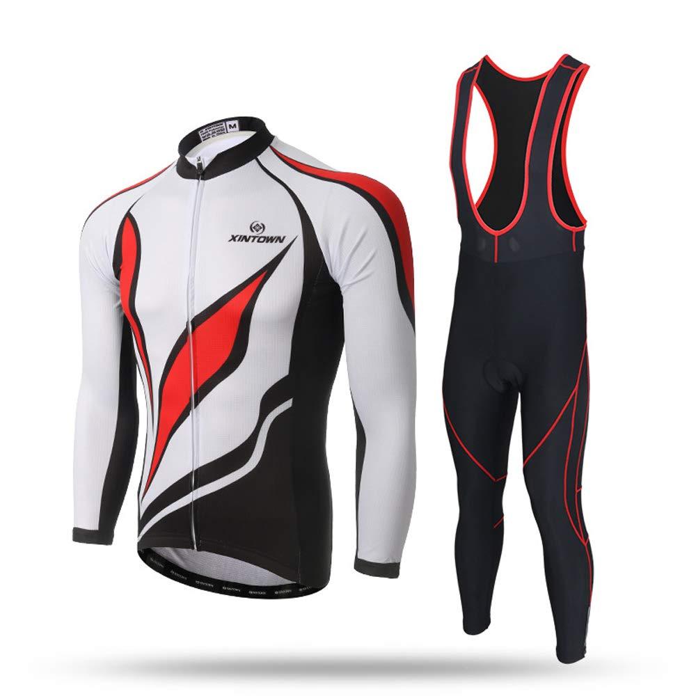 Pinjeer Cooles Design Rennrad Radfahren Jersey Kleidung für Männer Frühling Herbst Atmungsaktive Outdoor Sportswear Team Fahrrad Reiten Jersey Männer Langarm Sets mit Lätzchen