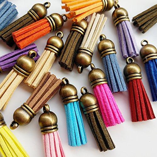 Lot de 30du cuir Multicolore Tassel Charms avec caches en bronze Sangles de téléphone portable DIY 3.5x 1.0cm Yiwu Juqian Trade Co. Ltd