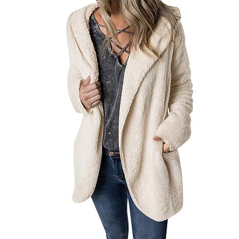 Abrigo Invierno Mujer, Btruely Abrigos con Capucha Espesar Prendas Abrigo de Piel sintética Outwear Suéter