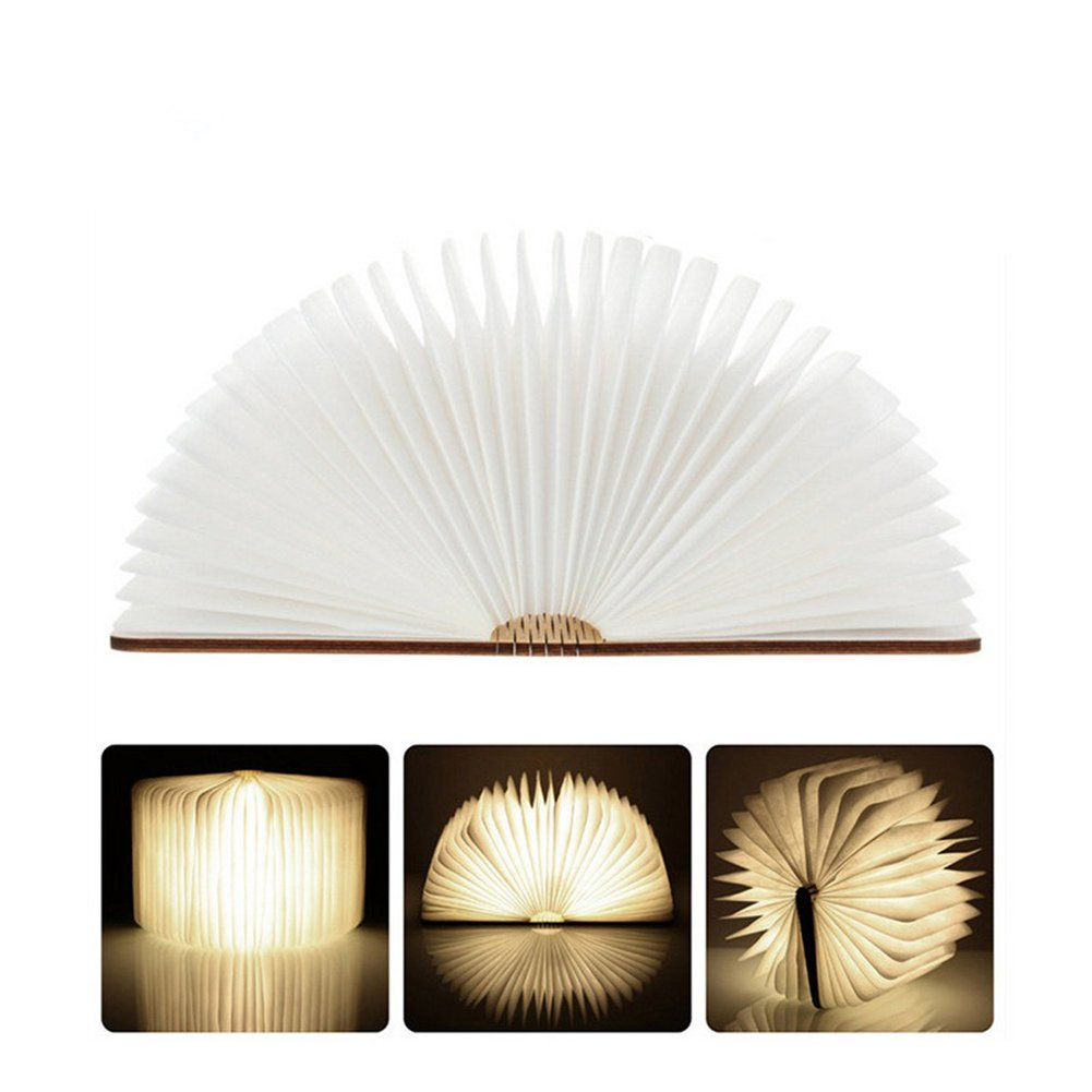 Atilim wooden book lamp,USB rechargable book shaped night-light multicolored LED folding table bedside light for Decor,creative gift for Christmas and birthday (warm white) by Atilim (Image #4)