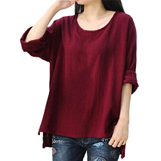 7149d66513b35d Syban Womens Cotton Linen Thin Section Loose Long-Sleeved Blouse T ...