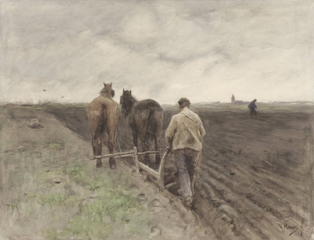 Plowing Farmer 1848-88 Dutch Watercolor Painting By Anton Mauve In Distance Another Farmer Sows Seeds In Far Distance Is The Steeple Of A Church (Bsloc201616) Poster Print (36 x 24) by Posterazzi