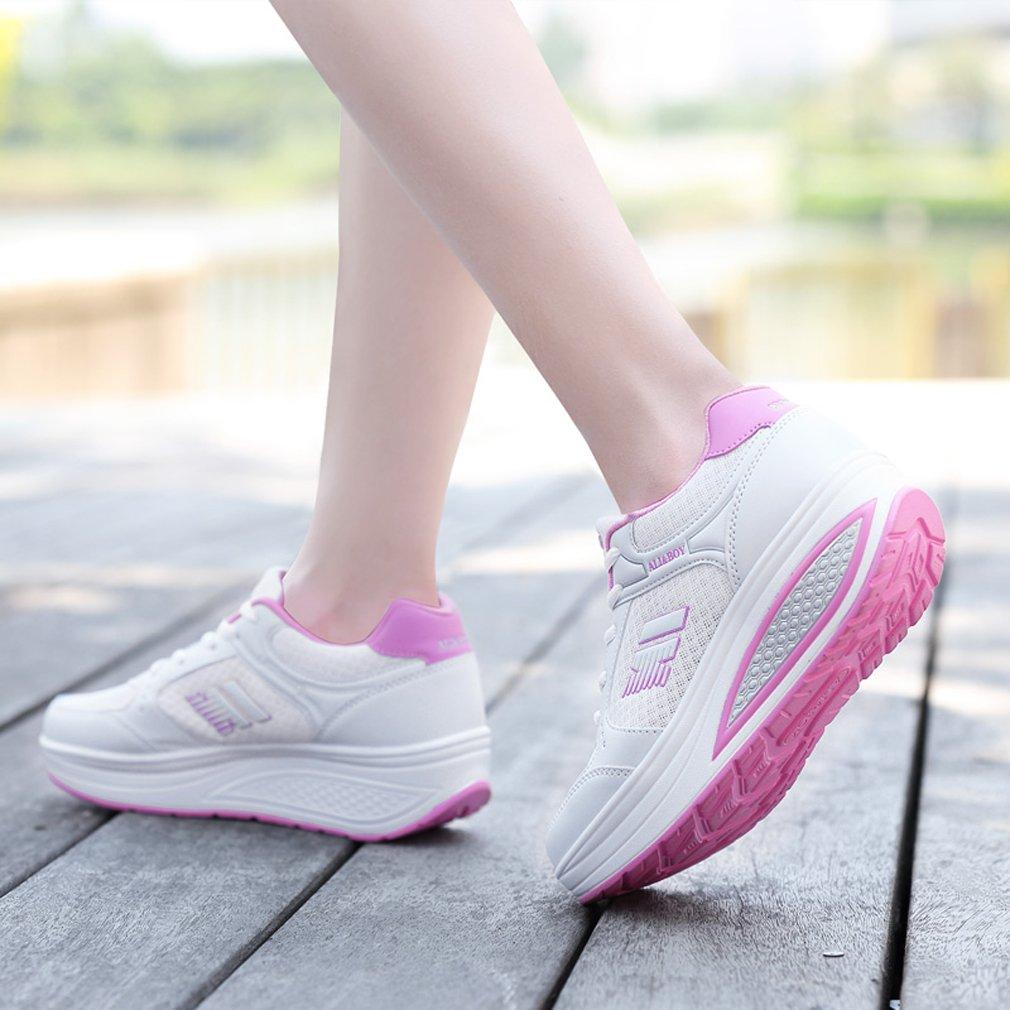 269f72fe093a ... Solshine Damen Schuhe Fashion Plateau Schnürer Sneakers mit Keilabsatz  Walkmaxx Schuhe Damen Fitnessschuhe Weißs 8 cd1b0a