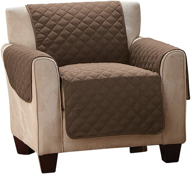Collections Etc Reversible Quilted Furniture Protector Cover, Chocolate/Tan, Chair