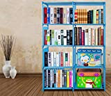 Miageek [US STOCK] 4-Tier Adjustable Storage Cube Closet Organizer Bookshelf 8-cube Cabinet Bookcase (Blue)