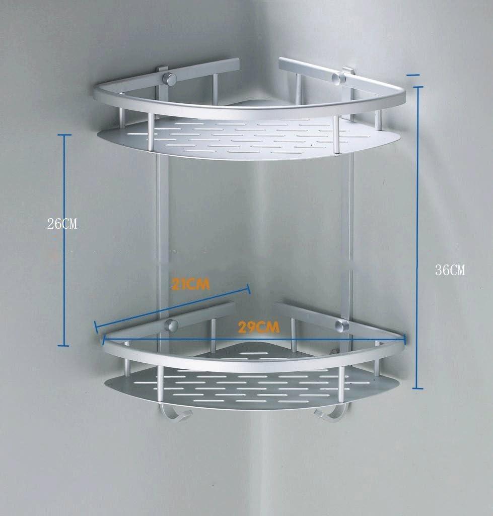 Risingmed 2 - Estantería esquinera de cuarto de baño, cesta de almacenaje de ducha, aluminio, estante organizador con ganchos, accesorios de baño: Amazon.es: Bricolaje y herramientas