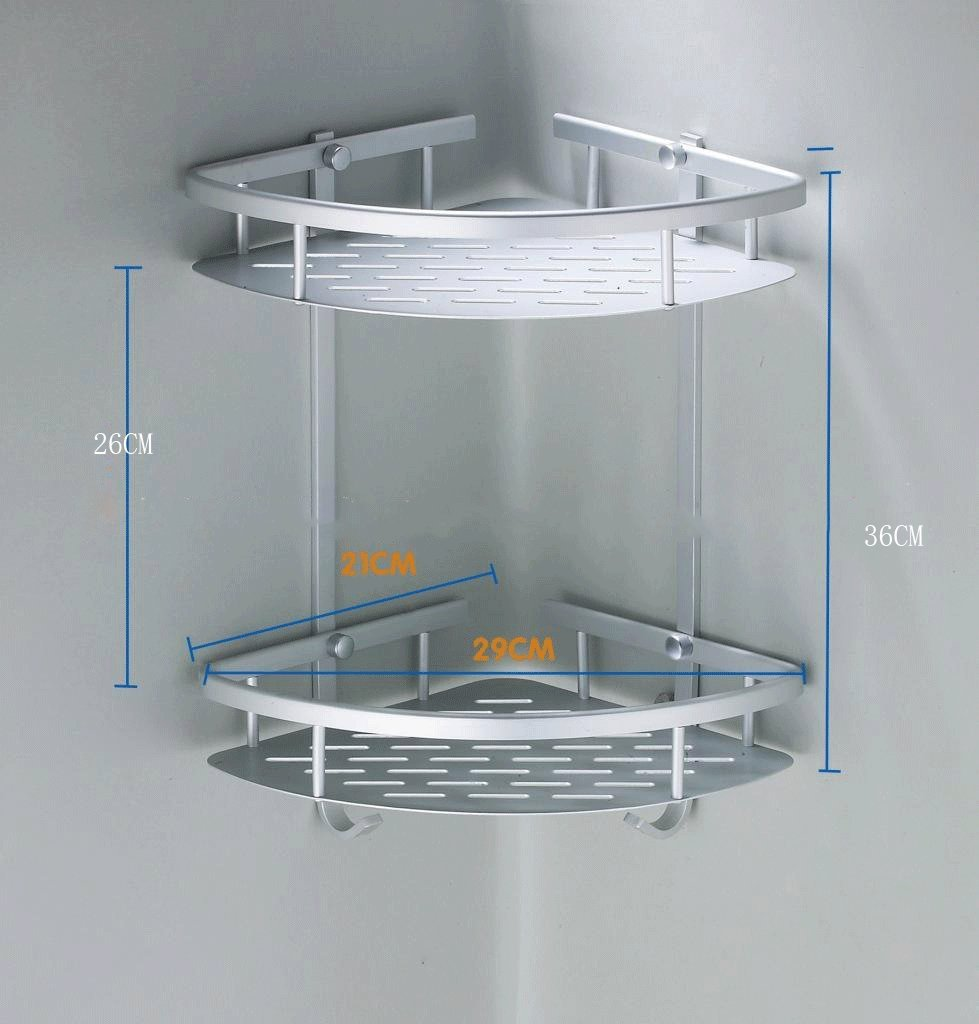 Risingmed 2 Etages étagère d\'angle de salle de bain, Panier de rangement de douche en Aluminium Barre porte-serviettes, étagère Rack Organiseur avec crochets, accessoires de salle de bain