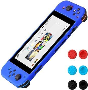 Morbuy Funda de Silicona para Nintendo Switch Funda Carcasa protectiva antiresbalante Caso Case Funda de Caja de TPU Suave Estilo de para Nintendo Switch & Thumb Grips Caps (Azul): Amazon.es: Electrónica