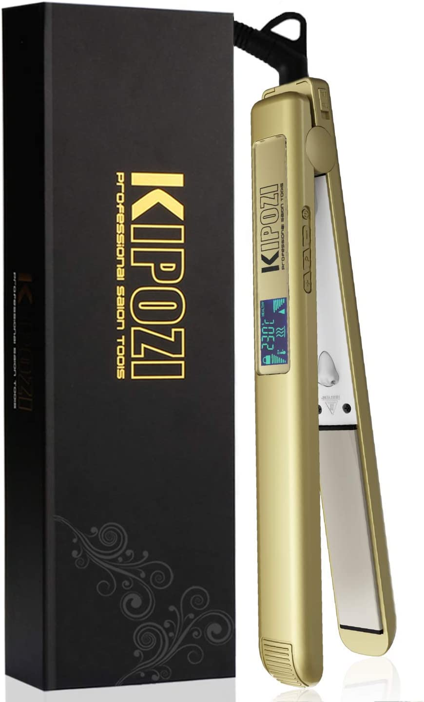 KIPOZI Pro Hair Straighteners for Women, with Adjustable Temperature Flat Iron, Dual Voltage UK Plug,Gold