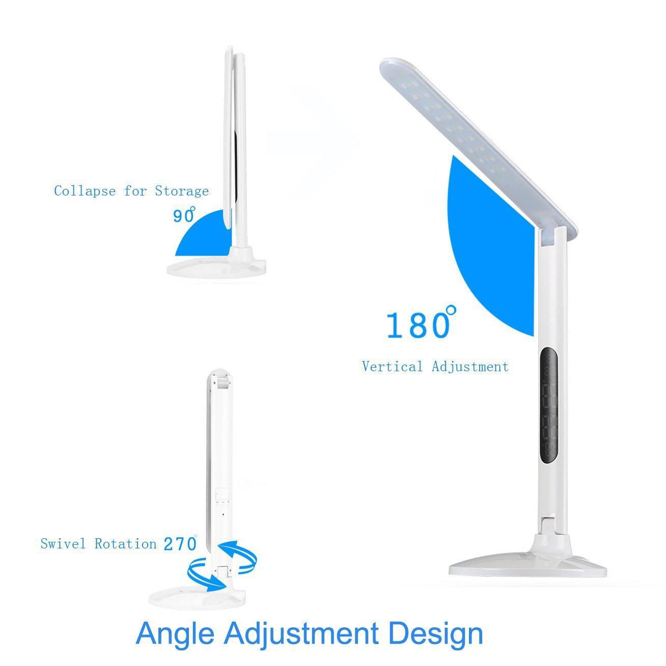 5V // 2A USB-Ladehafen LED-Multifunktionsschreibtischlampe LED-faltende Schreibtisch-Lampe Mit Uhr-Warnung Kalender-Augen-Schutz-Schreibtisch-Lampe Empfindliches Noten-Bedienfeld 5 Dimmer 3 Modi