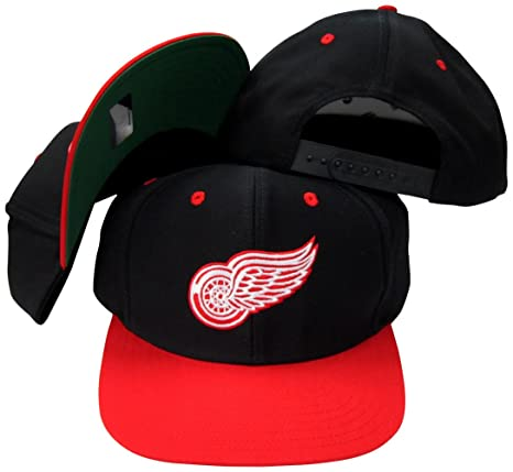 06406a40c8a Amazon.com   Detroit Red Wings Black Red Two Tone Snapback ...