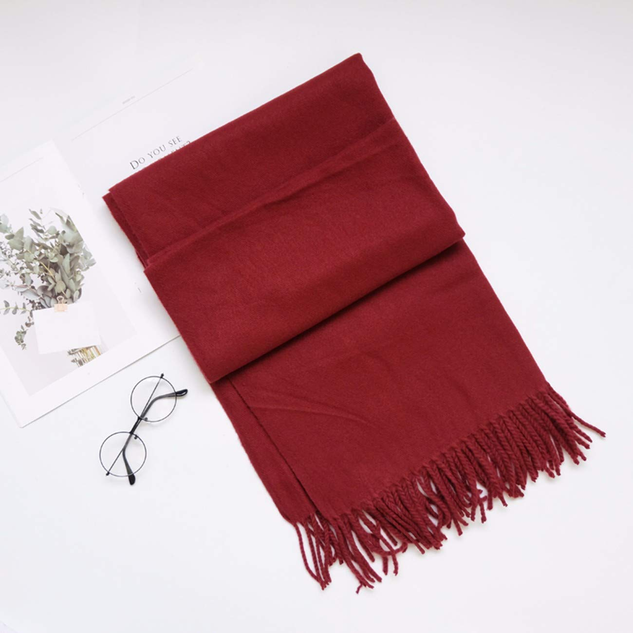 G Thickened Pure color Cashmere Scarf, DualPurpose Shawl and Long Neck Scarf.