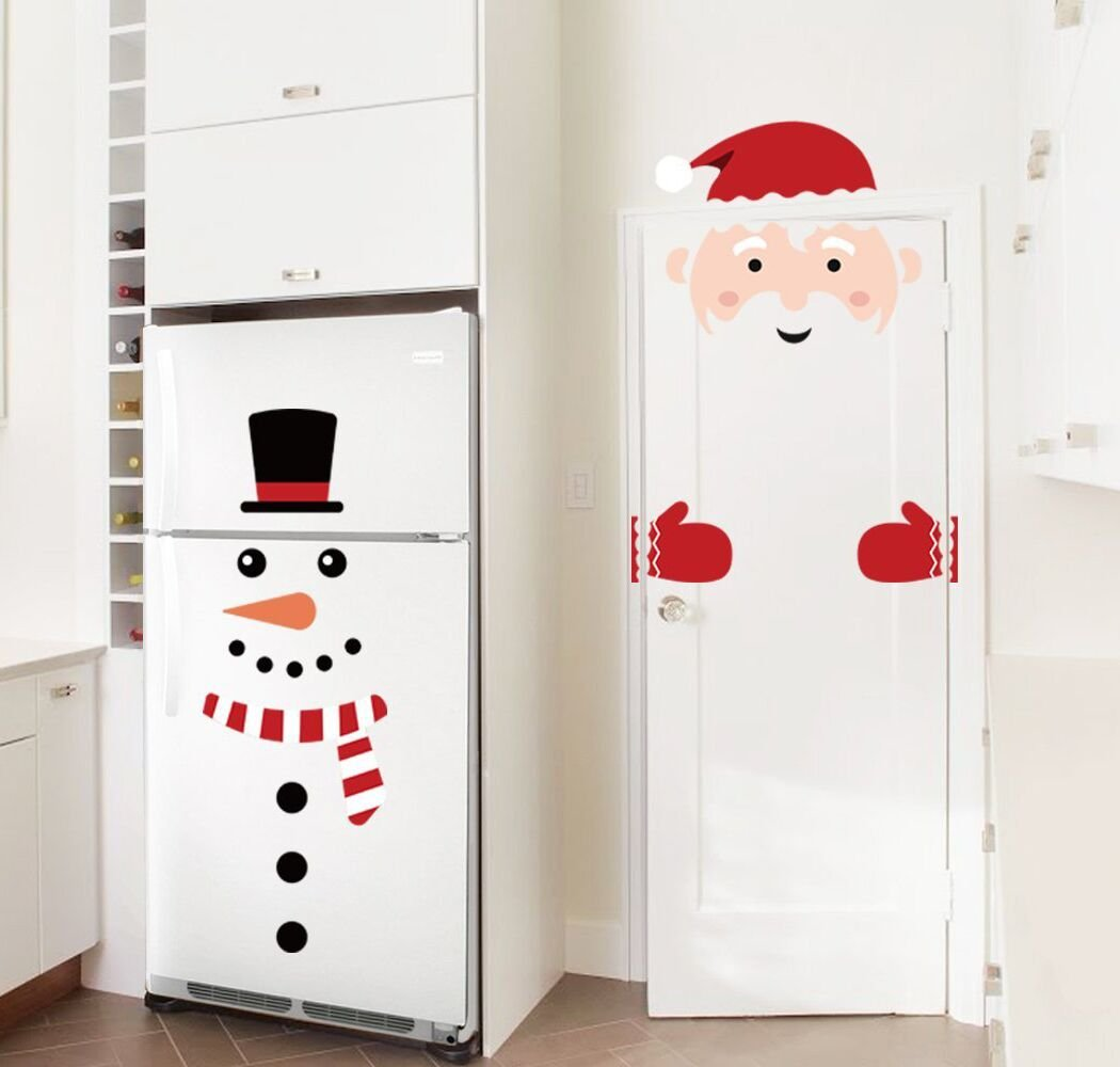 Christmas Decorations Snowman/Santa Claus Door Wall Window Clings Stickers Decals - Winter Wonderland/Xmas/Room Decor