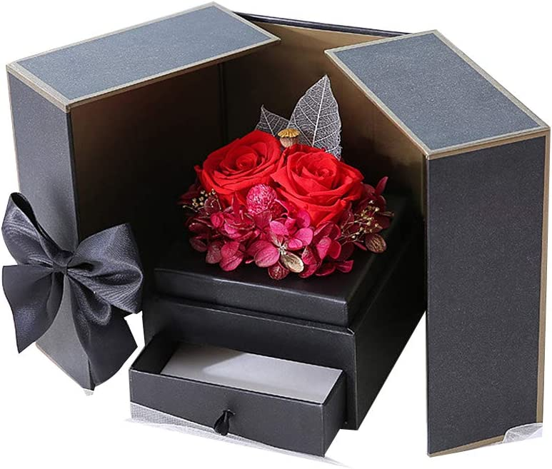SHIJIU SHIMENG regalos de graduación para su adolescente/hombre/mujer 2020, flor de rosa, decoración de corazón de oso Caja de regalo., D