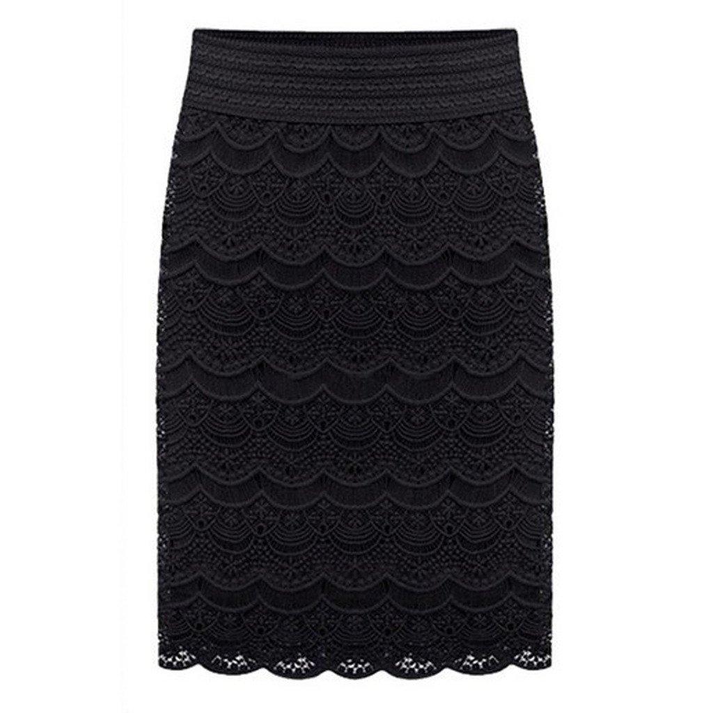 AOMEI Women's Lace High Waist Pencil Skirts Black Size 2XL