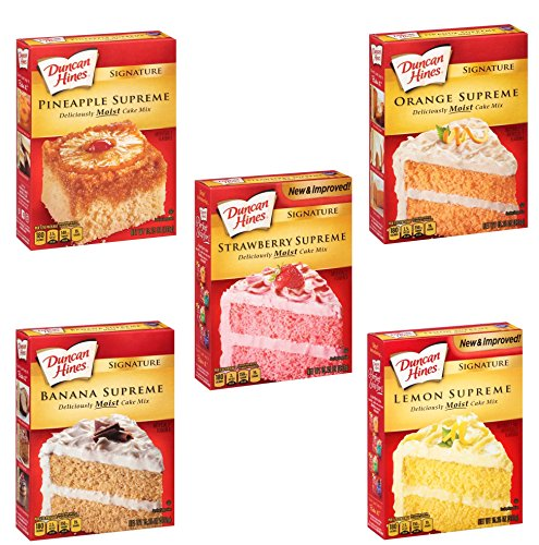 - Duncan Hines Signature Cake Mix Bundle 5 Pack - Strawberry Supreme, Orange Supreme, Lemon Supreme, Pineapple Supreme, and Banana Supreme. 15.25 oz. Each