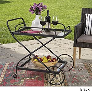 India Outdoor Traditional Black Powder Coated Iron Bar Cart with Tempered Glass Shelves
