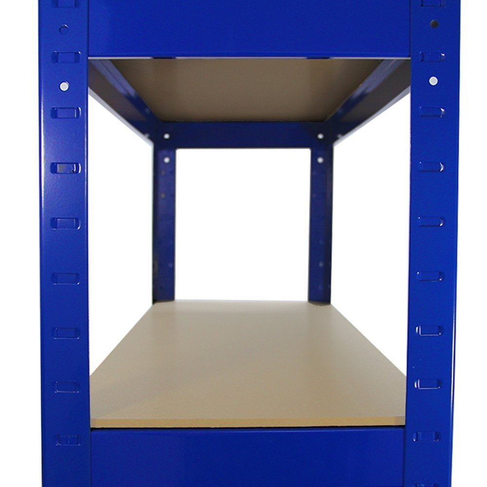 Direct Online Houseware Racking Storage Workshop Shelving Heavy Duty Garage 5 Tier Steel Shelf Unit 70cm x 30cm x 150cm Blue