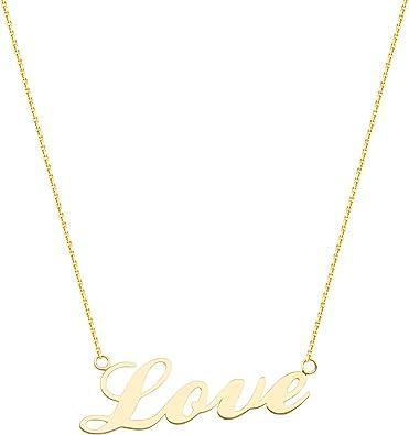 14K I Love You Cursive Romantic Phrase Anniversary Pendant Yellow Gold