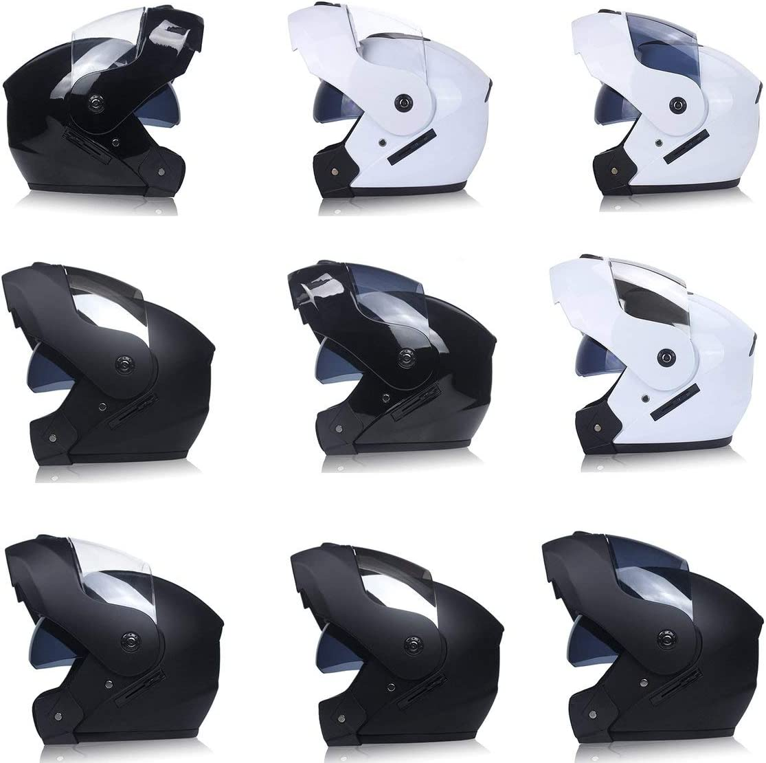 Farbe: Schwarz /& Silber Garciadia Motorradhelm Double Lens Jethelm Integralhelm Rennhelm Laufhelm Unisex Dual-Use-Helm Szie: L