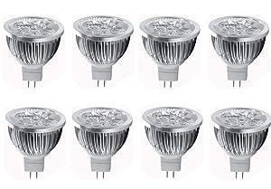 JKLcom 4W LED MR16 Bulbs 12V 4W LED Spotlight Bulb for Landscape Track light, MR16 GU5.3 Base,12 Volt,4W(35W Equivalent Halogen Replacement),Warm White 3000K,8 Pack