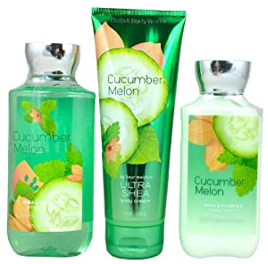 Bath & Body Works Signature Collection Cucumber Melon Gift Set ~ Body Cream ~ Shower Gel & Body Lotion. Lot of 3