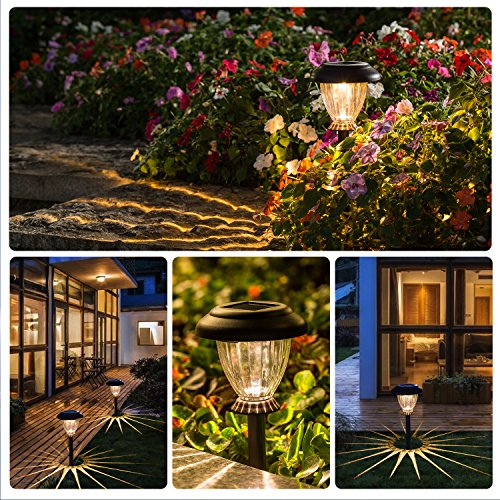 SUNWIND Solar Pathway Lights Outdoor Waterproof Glass Landscape Lights 6-Pack Warm White LED for Garden,Path,Patio Yard,Walkway and Driveway (Bronze Metal) by SUNWIND (Image #1)