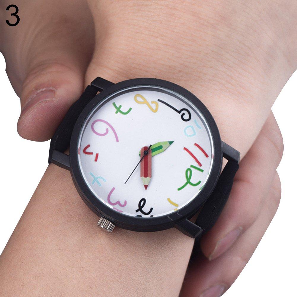 wintefeiユニセックスレジャーブルースカイダイヤルFauxレザーバンドアナログクオーツ手首腕時計ギフト – ブラック B07C78XNYT
