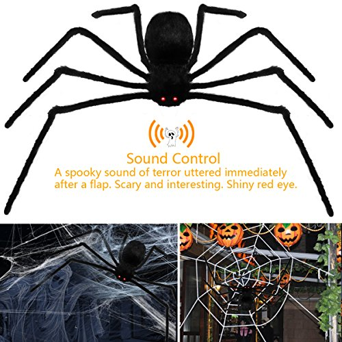 H7MAO 50 Inch Realistic Hairy Spider with LED Eyes Spooky Sound Foldable Outdoor Halloween Decorations. (C Halloween)
