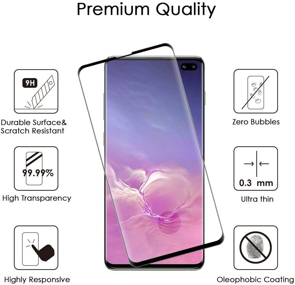 Plus Black Bemz Tempered Glass Screen Protector and Atom Cloth for Samsung Galaxy S10