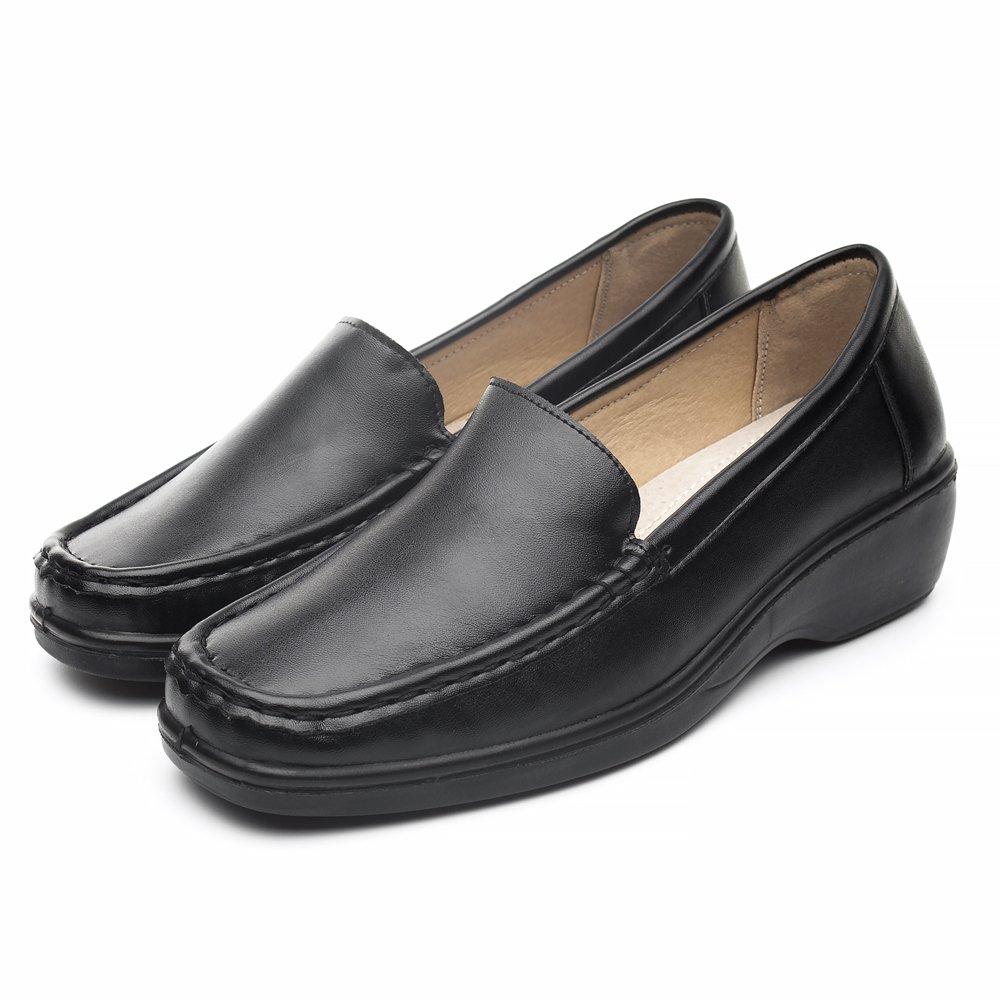 DRKA Women's Casual Loafer Comfort Slip On Flat Shoe(18933-black-40)