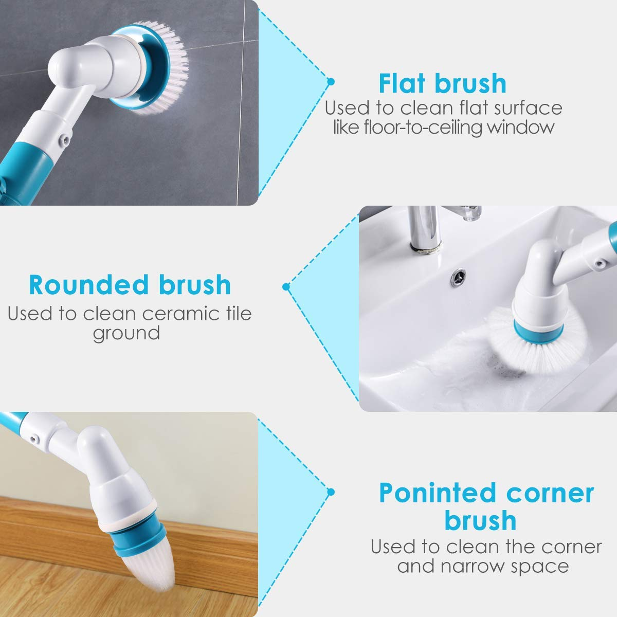 Spin Scrubber, 360 Cordless Tub and Tile Scrubber, Multi-Purpose Power Surface Cleaner with 3 Replaceable Cleaning Scrubber Brush Heads, 1 Extension Arm and Adapter by Bert (Image #4)