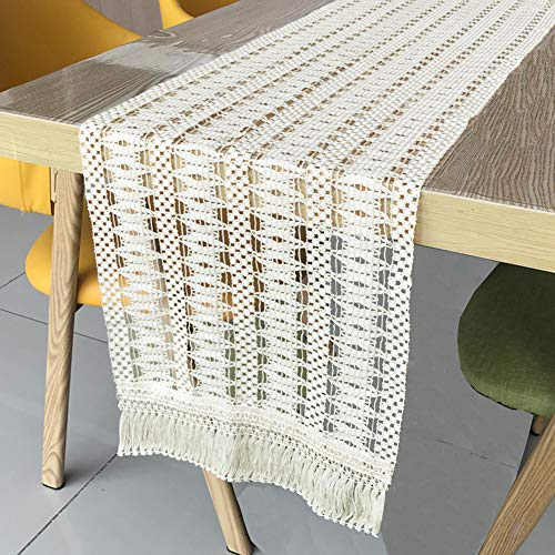 Fowecelt Natural Macrame Table Runner Cotton Lace Boho Table Runner with Tassels for Boho Wedding Party Decorations, Rustic Bohemian Bridal Shower Home Dining Table Decor, 12 × 84 Inch