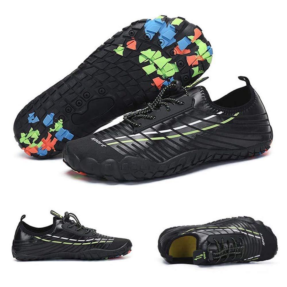 Noir Chaussures de natation for hommes, dans l'eau et dans la terre Chaussures d'escalade antidérapantes US5-US10.5 (noir) Chaussures de pataugeoire Five Fingers Low Plongée Chaussures de plage anti-collis US6.5