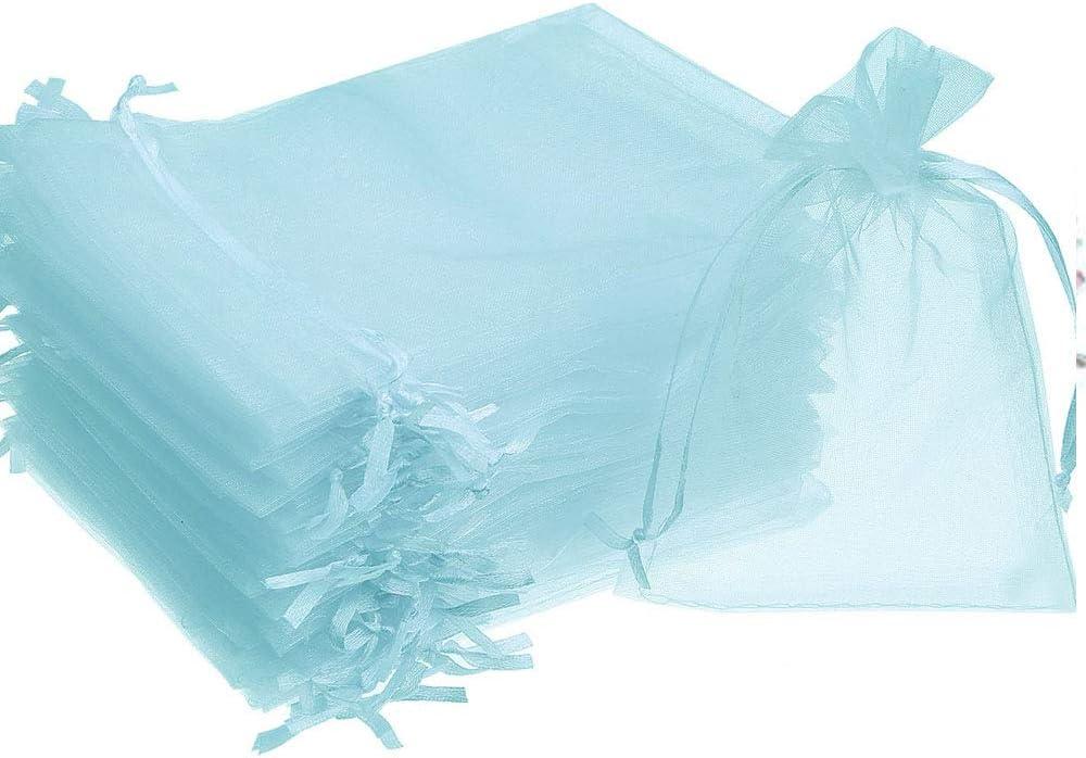 7x9cm-25pcs Time to Sparkle TtS 25 Pi/èces Bleu Clair Sachets Pochettes Sac Organza Cadeau Luxueux Poche Bijoux Mariage