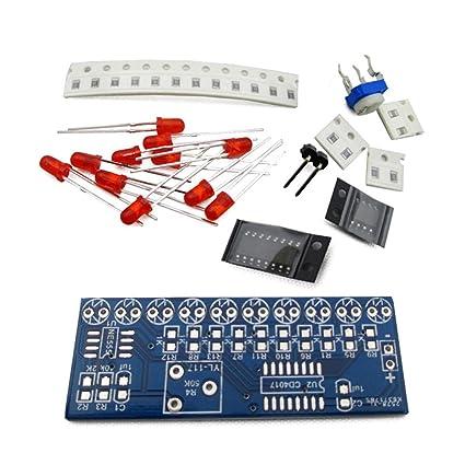 Rokoo NE555 CD4017 Scrolling Flowing Red Light SMD Kit de bricolaje Kits de práctica de soldadura