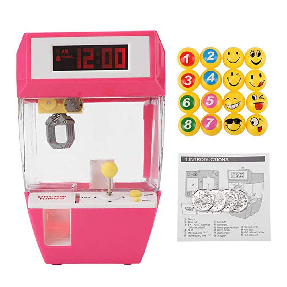 Mini Electronic Crane Machine, 2 in 1 Electronic Arcade Claw Machine, Creative Alarm Clock Arcade Electronic Lifting Game Machine Coins and Balls for Boys Girls (Rose Red)
