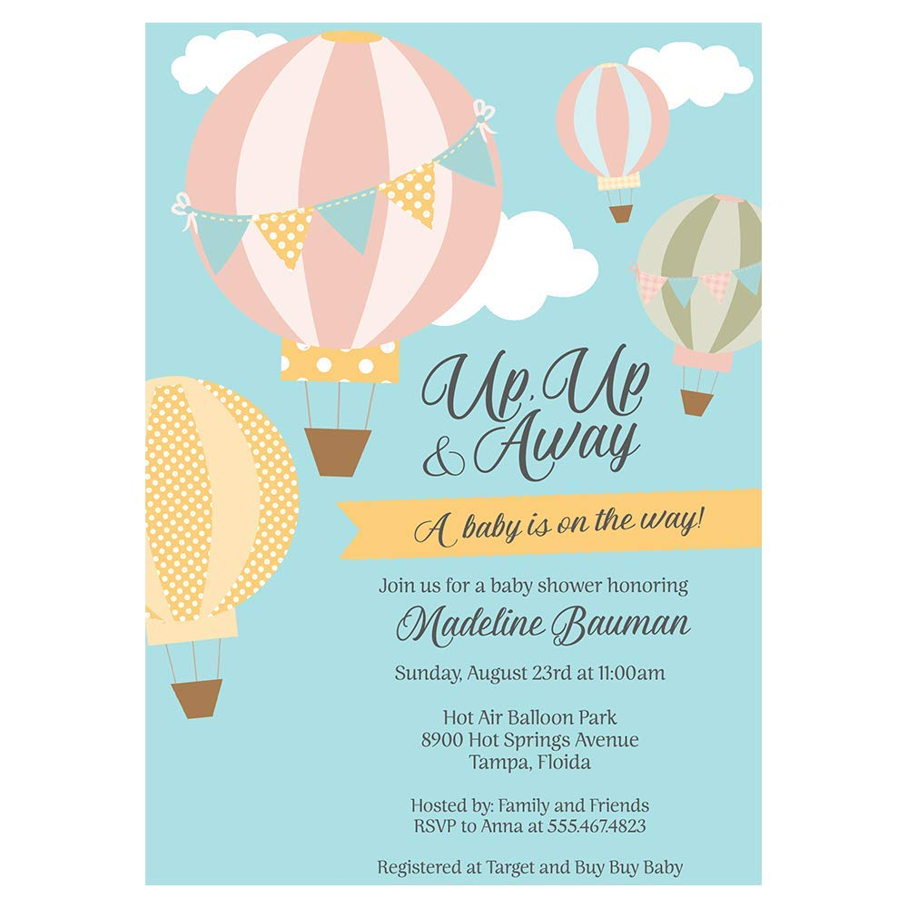Amazon Com Hot Air Balloon Baby Shower Invitations Up Up Away Invites Gender Neutral Unisex Boy Or Girl New Plan Rescheduled Event Party Shower Save The Date Postponed Personalized Customized Printed 10