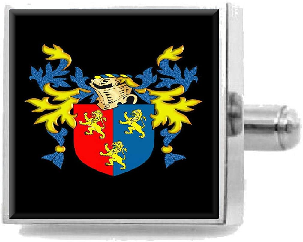 Select Gifts Gates England Family Crest Surname Coat Of Arms Cufflinks Personalised Case