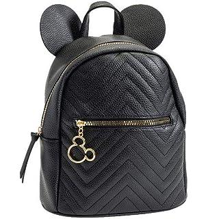 Disney Mickey Mouse Zippered Black Backpack Bag White Fur Pompom