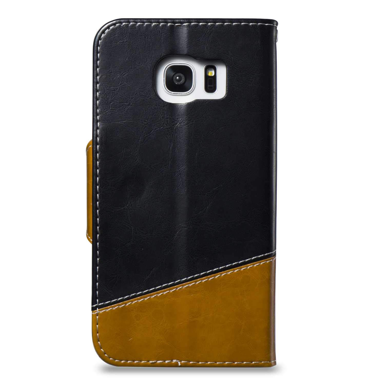 Portefeuille de Protection en Cuir pour Samsung Galaxy S7 Edge Magn/étique Wallet Housse Anti Choc Etui Rouge fonc/é DENDICO Coque Galaxy S7 Edge