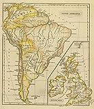 1828 School Atlas | South America, British Isles. | Antique Vintage Map Reprint