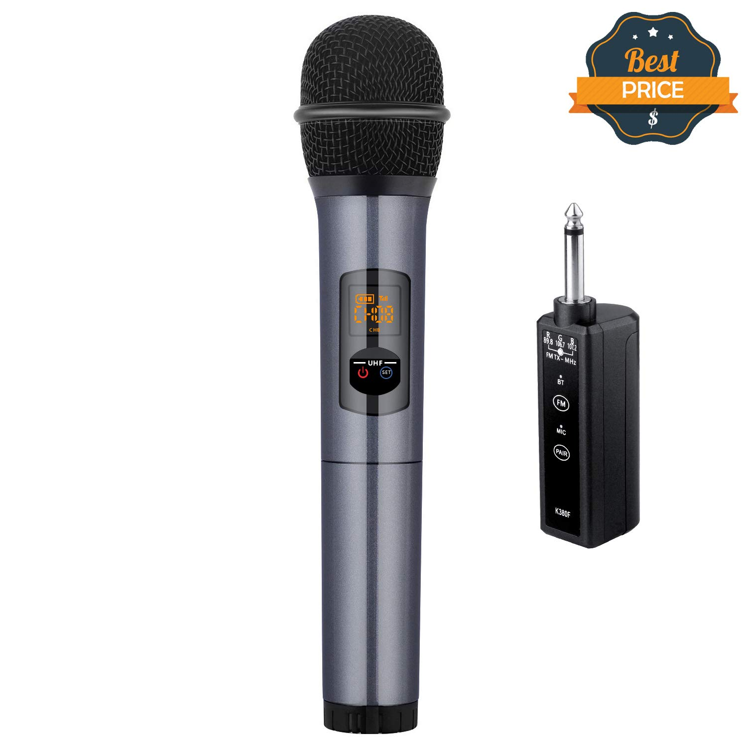 Kithouse K380F Wireless Microphone Karaoke Microphone Wireless Mic with Bluetooth Receiver Rechargeable Professional - UHF Dynamic FM Cordless Microphone For Singing Karaoke Speech(Elegant Gray) by KITHOUSE