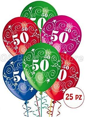 Globos cumpleaños 50 años balón látex con estampado decoraciones para fiestas, paquetes de 25 unidades