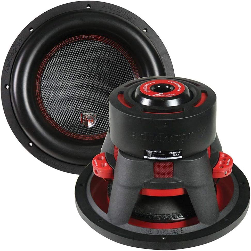 Audiopipe 12? Car Audio Dual Woofer - 1600 Watt Max Power Surround Sound Stereo Bass Speakers Subwoofer System - 88DB 150oz Magnet 4 Ohm 2.5 Inch 4-Layer Dual Coil – Black