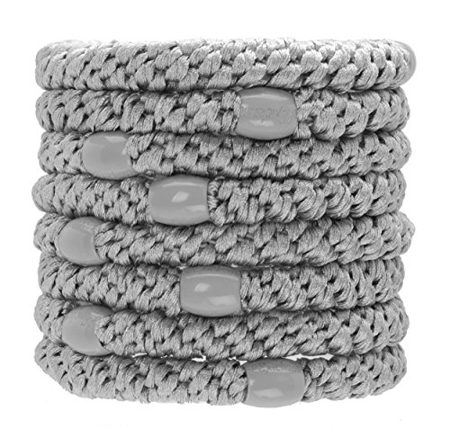 L. Erickson Grab & Go Ponytail Holders, Silver, Set of Eight - Exceptionally Secure with Gentle - Gray Hair Band