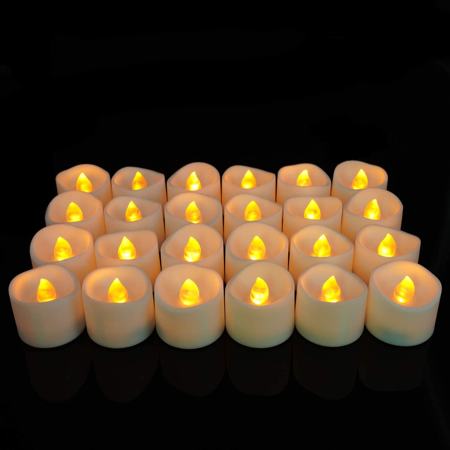 Electric Fake Candle in Warm White and Wave Open Homemory Realistic and Bright Flickering Bulb Battery Operated Flameless LED Tea Light for Seasonal /& Festival Celebration Pack of 12