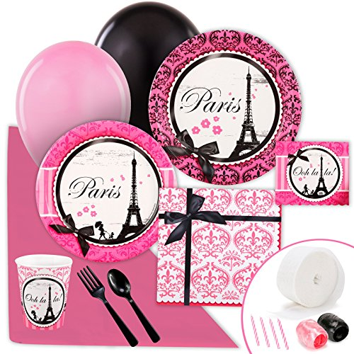 Paris Eiffel Tower Damask Party Supplies - Value Party Pack