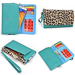 Amoi A955T Wallet Wristlet Clutch With Hand Strap and Credit Card Slots| Teal Green, Vibe Blue, Leopard